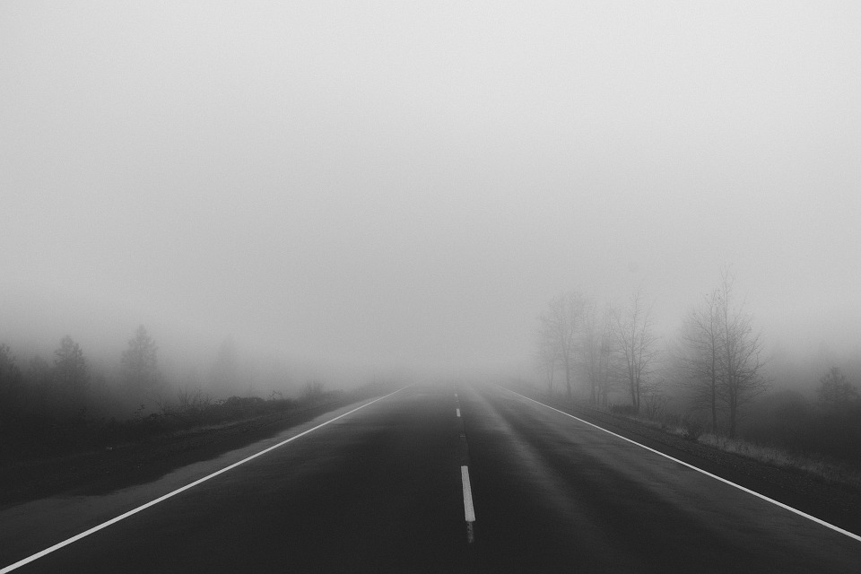 silnice v mlze